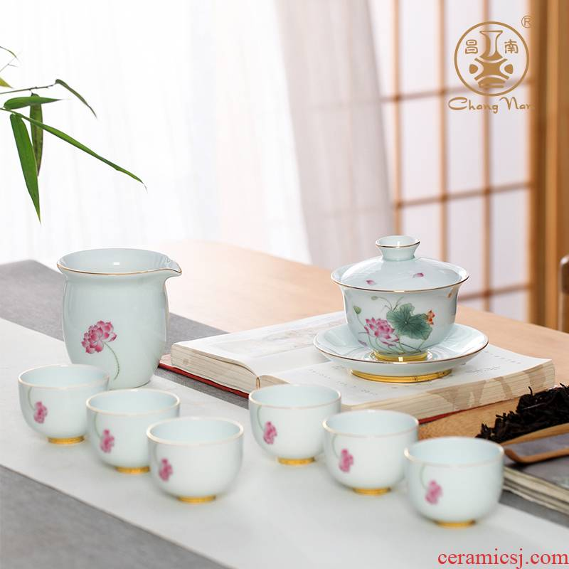 Chang, south jade porcelain ceramic hand - made paint lotus rhyme eight woolly tureen tea tea tea set jingdezhen ceramics