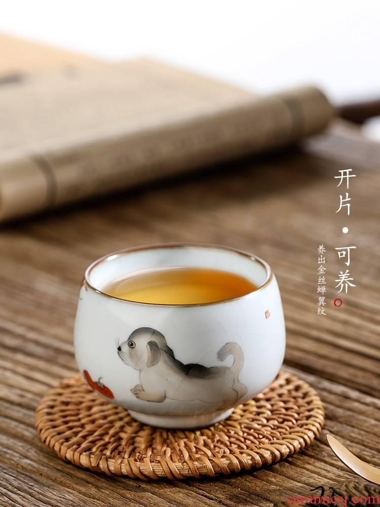 Pure manual ru up market metrix who cup single CPU jingdezhen hand - made zodiac dog sample tea cup only ceramic piece of kombucha tea
