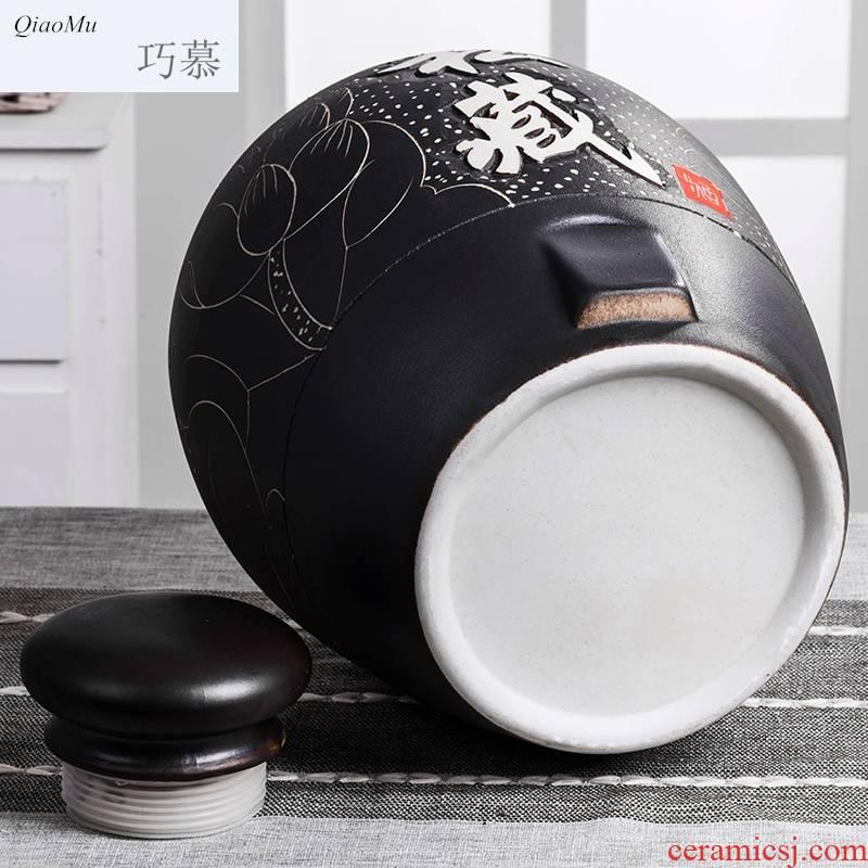Qiao mu jingdezhen ceramic jars 10 jins sealed 50 kg 20 jins it household 100 jins jar jar of wine bottles