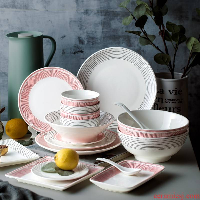 Western dishes Nordic good - & suit combination ins wind ceramic creative network plate tableware combination suit dish
