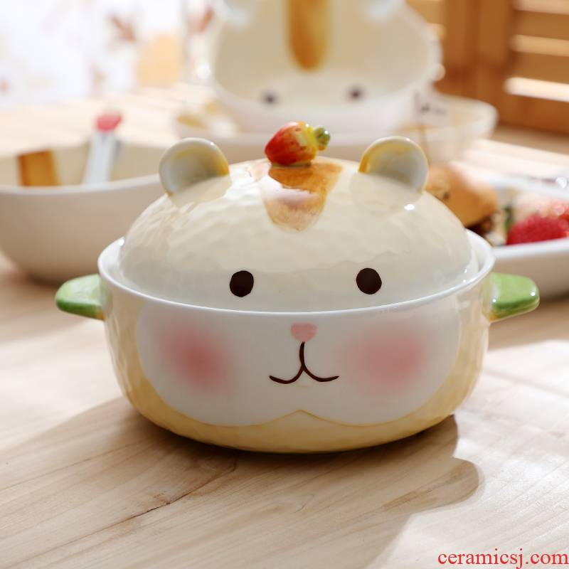 Student dormitory ears with cover ceramic hamster mercifully rainbow such as bowl li riceses leave express cartoon young girl heart bowl of creativity