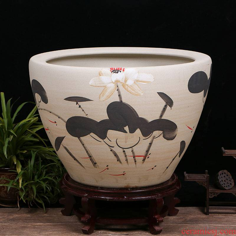 Jingdezhen ceramics sitting room aquarium office furnishing articles tank yard VAT koi fish basin tortoise cylinder