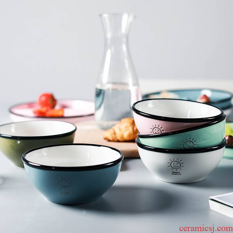 Qiao mu Korean contracted combination of household ceramics tableware rice bowl with cover rainbow such use breakfast tray was lovely smiling face