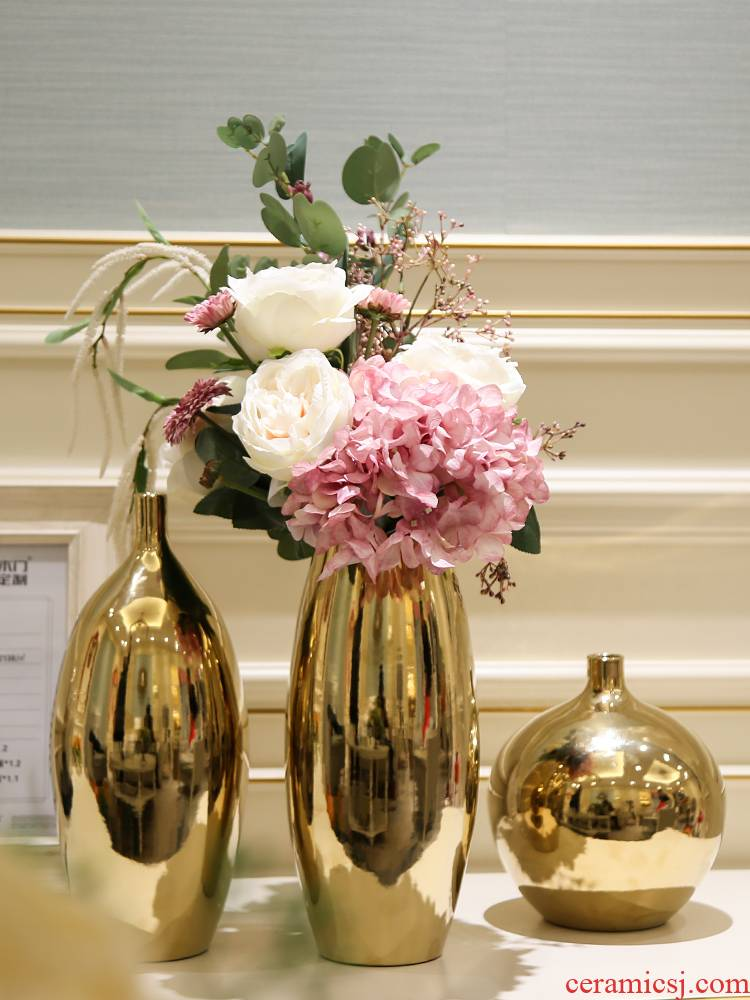Nordic light key-2 luxury vases, ceramic flower arranging household act the role ofing is tasted furnishing articles, the sitting room porch hydroponic flower tea table, table decoration