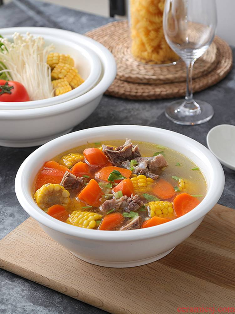 Ceramic bowl with small white soup basin soup bowl rice bowl of a large ltd. rainbow such as to use the hotel hotel