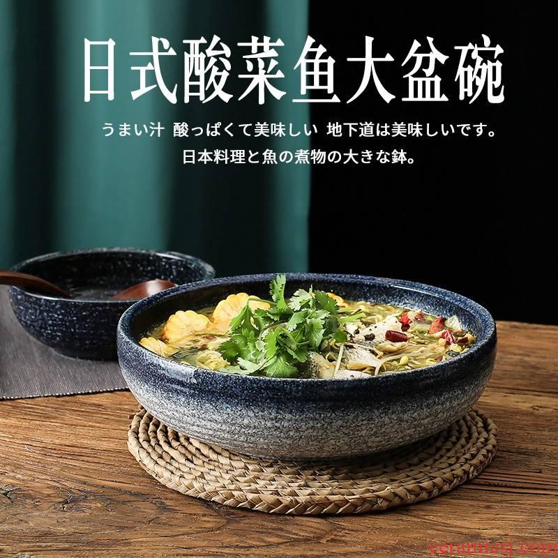Against the porcelain basin round porcelain basin pickled fish bowl of the big bowl of soup bowl of household ceramics special big bowl of boiled fish restaurant