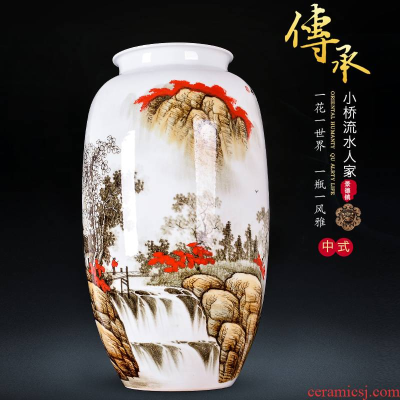 Jingdezhen ceramics hand - made vases, flower arranging landscape painting large new Chinese style household act the role ofing is tasted, the sitting room porch place
