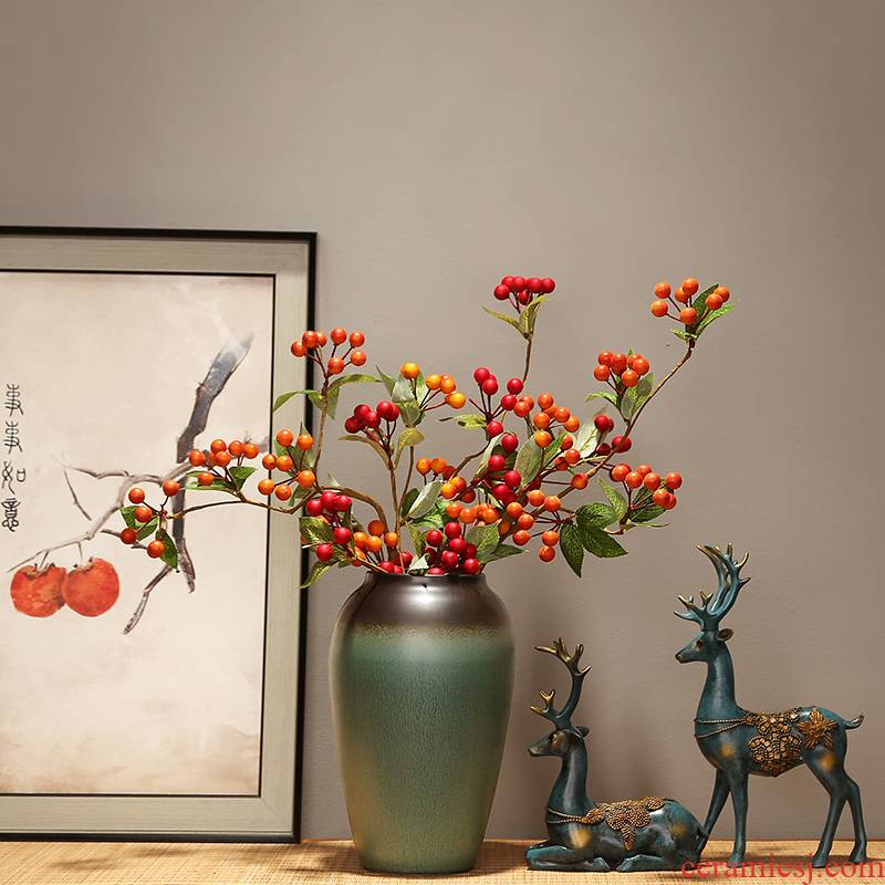 The New Chinese zen ceramic vase household living room TV cabinet porch place modern classical simulation flower decoration