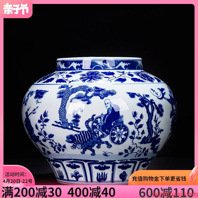 Jingdezhen ceramic blue and white porcelain vase furnishing articles rich ancient frame antique Chinese written down the mountain handicraft sitting room