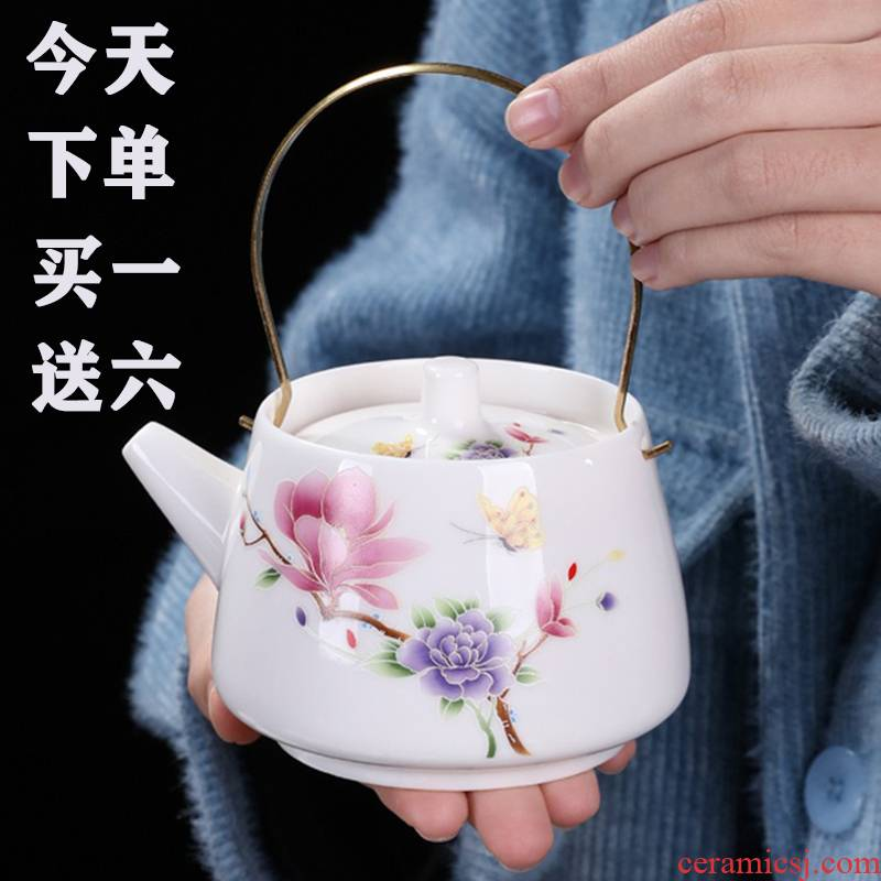 Jingdezhen ceramic tea set a pot of six cups of Japanese household small set of white porcelain pot of tea pot hot girder