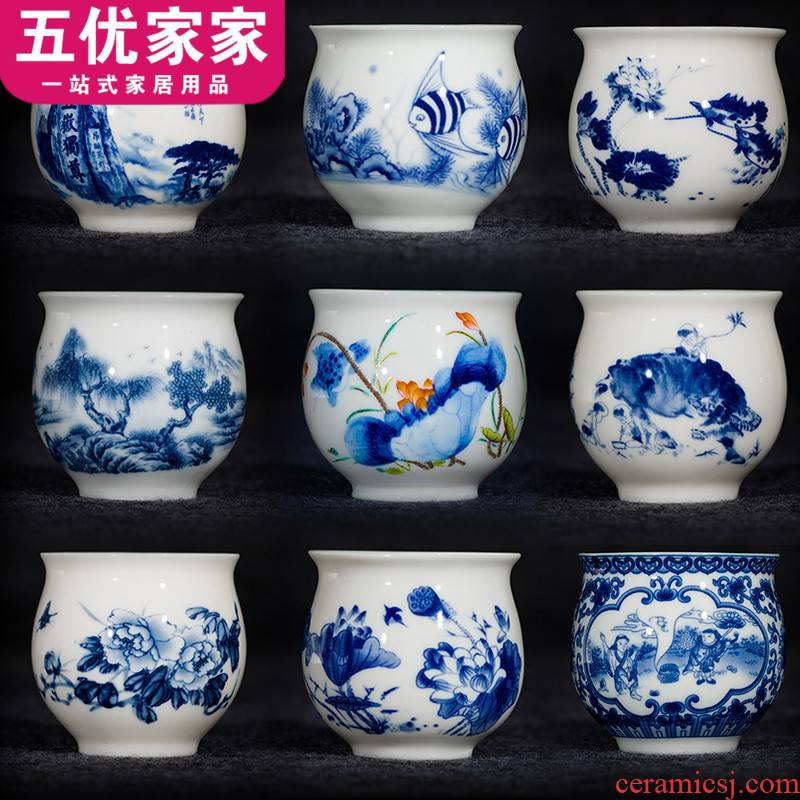 Ceramic cups one cup of tea large bowl sample tea cup jingdezhen blue and white porcelain double anti hot thickening of blue and white porcelain