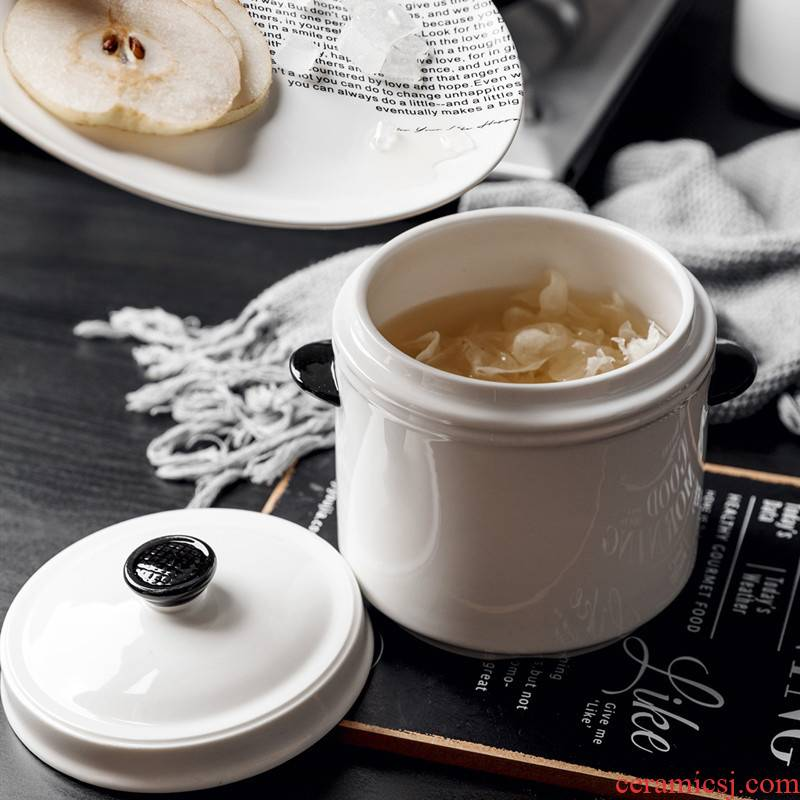 Stew ceramic small soup bowl with cover water ears sweetmeats cup steamed egg cup Stew pot stewed bird 's nest household dish bowl of Stew