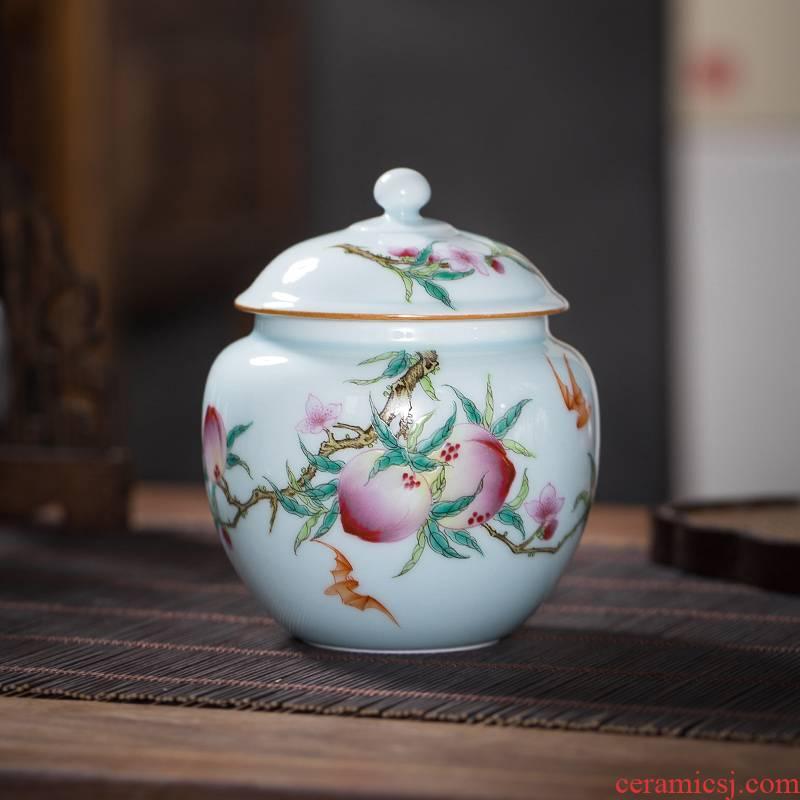 The Owl up jingdezhen checking ceramic POTS peach blue glaze caddy fixings small round antique porcelain cover pot