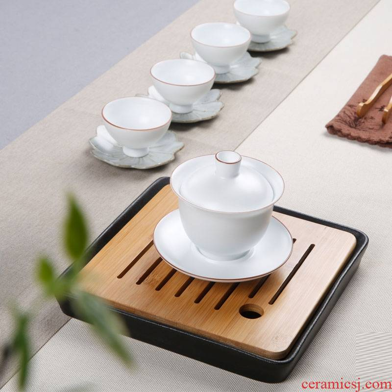 Qiao MuChun color three ceramic tureen tea cups to bowl of household kung fu tea teapot teacup matte enrolled white