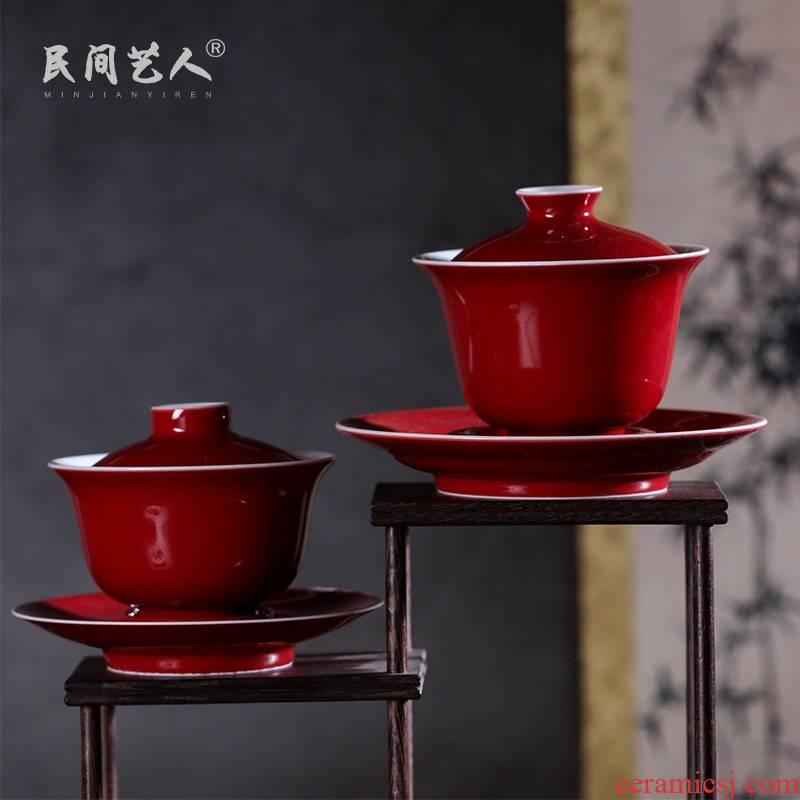 Ji red tureen jingdezhen ceramic manual only three CPU is not kung fu tea set large tea finger bowl