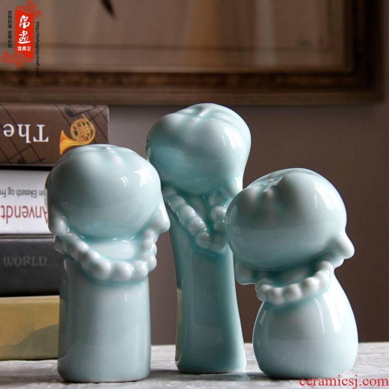 Jingdezhen ceramics manual shadow celadon home auspicious happy little monk sitting room porch place porcelain