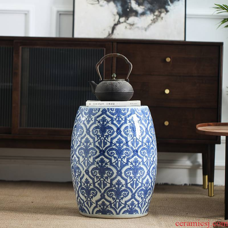 Jingdezhen new Chinese style villa hotel ceramic decoration drum who between example pier sit mound in shoes who toilet who