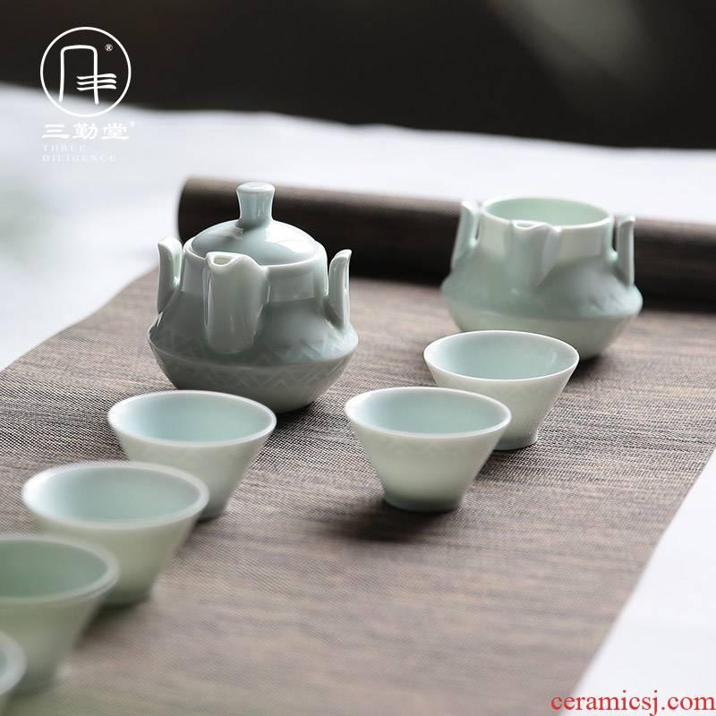 Three frequently hall jingdezhen kung fu tea sets tea service of a complete set of jingdezhen ceramic carved retro 8 head hand grasp pot