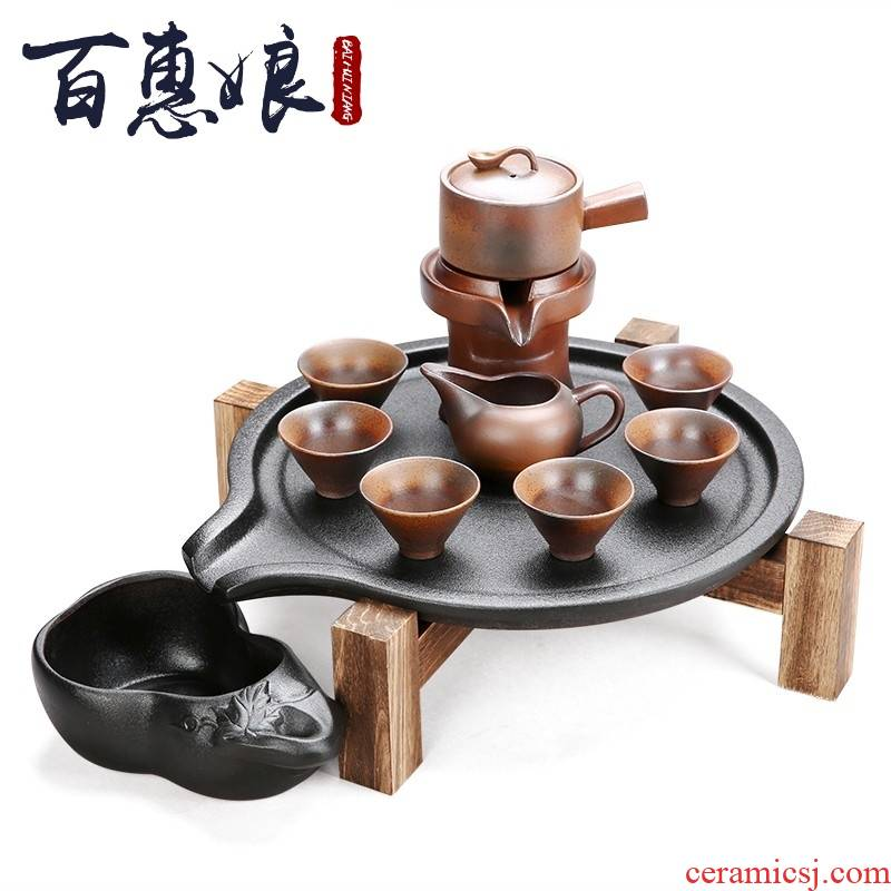 (niang half automatic kung fu tea set home lazy blunt tea ware ceramic teapot cup of a complete set of stone