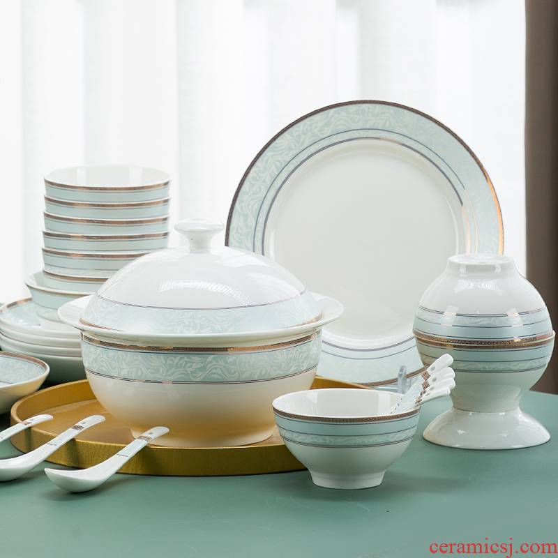 The dishes suit I and contracted household bowls of ipads plate combination of jingdezhen fuels the upscale tableware suit