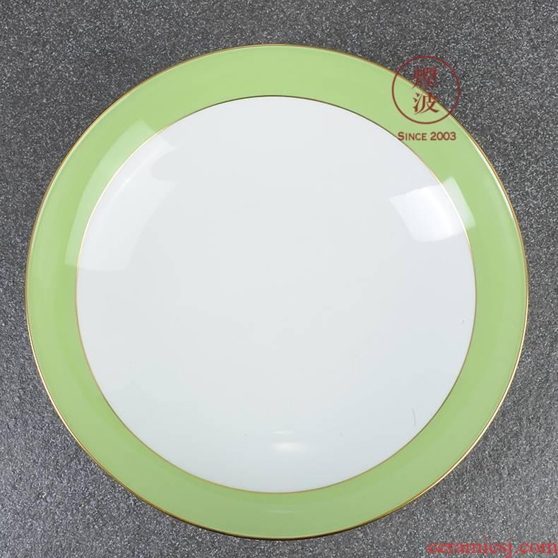 German mason MEISSEN porcelain Paris single glaze grass green paint continental plates deep plate of 225 mm