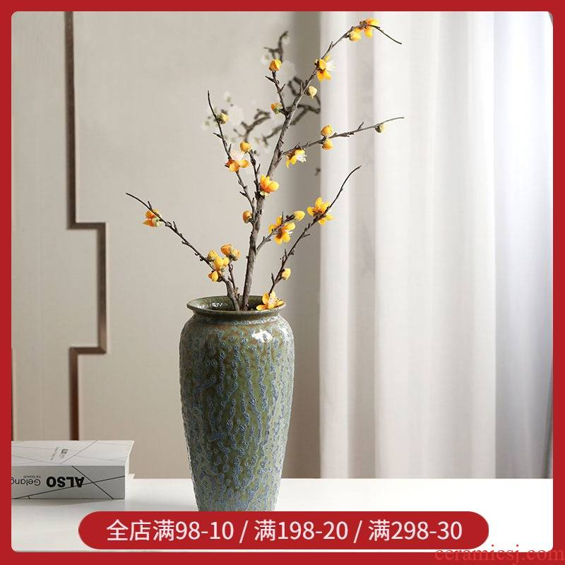 Nordic I and contracted frosted glass ceramic vase living room TV cabinet table simulation dry flower arranging flowers handicraft furnishing articles