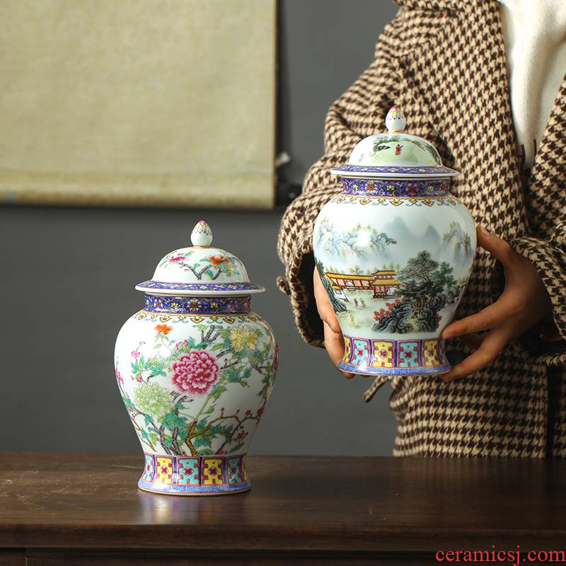 Jingdezhen ceramic famille rose blooming flowers general small as cans of tea pot and tea tea with a lid seal