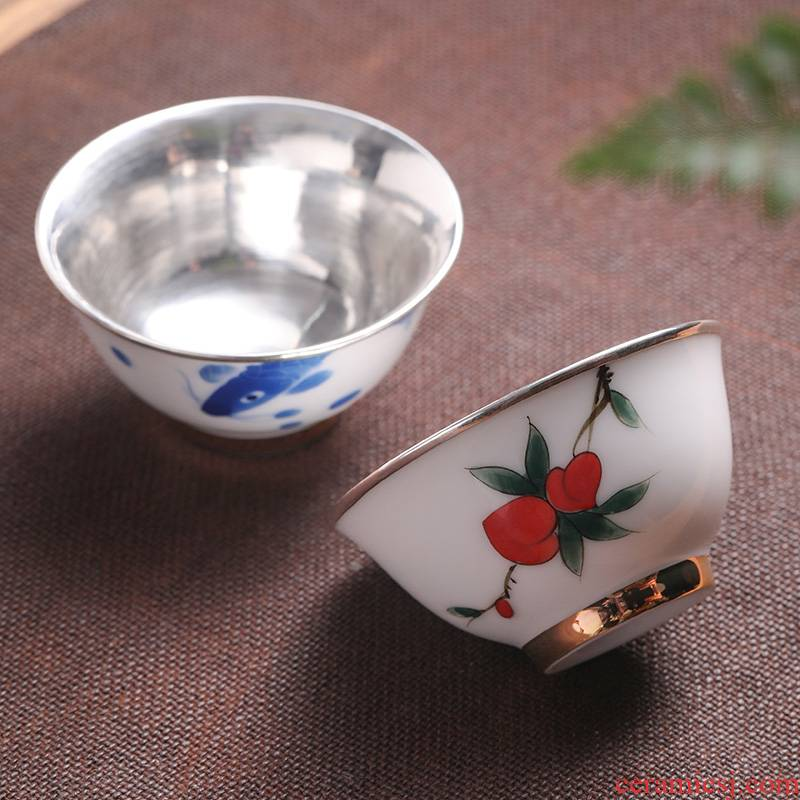 Ms high - end ceramic hand - made teacup male noggin wen xiang sample tea cup wrap large blue and white master cup cup single CPU
