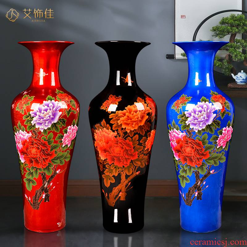 Jingdezhen ceramics China red crystal glaze peony be born Chinese living room place heavy large opening