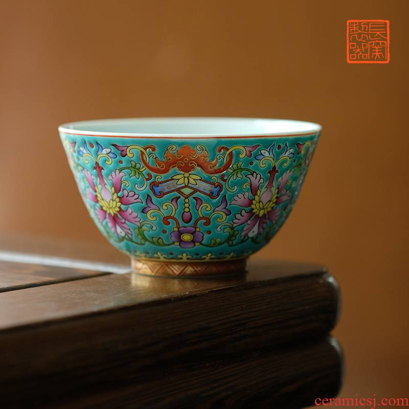 Offered home - cooked in hand - made bat around branch lines colored enamel view of lotus. The sample tea cup of jingdezhen ceramic masters cup by hand