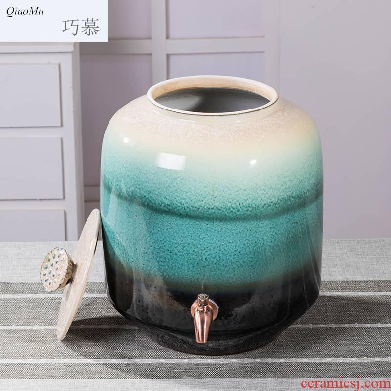 Qiao mu jingdezhen ceramic jars 15/30/50 kg with leading homemade medicine jars cylinder wine pot liquor wine