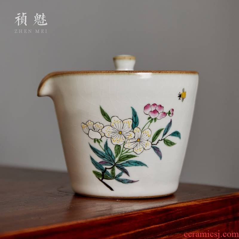 Shot charm your up hand - made the pear flower hand grasp the pot of the crack of jingdezhen ceramic portable kung fu tea tea bowl cover cup