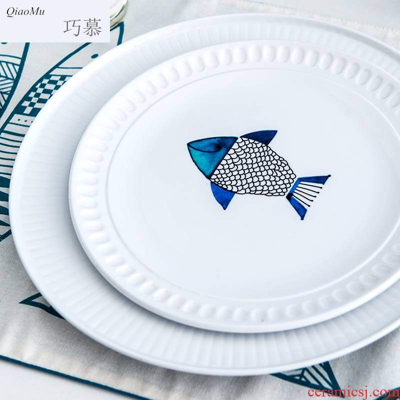 Qiam qiao mu thread to restore ancient ways round soup plate tableware ceramic plates creative little pure and fresh and western - style food dish blue fish