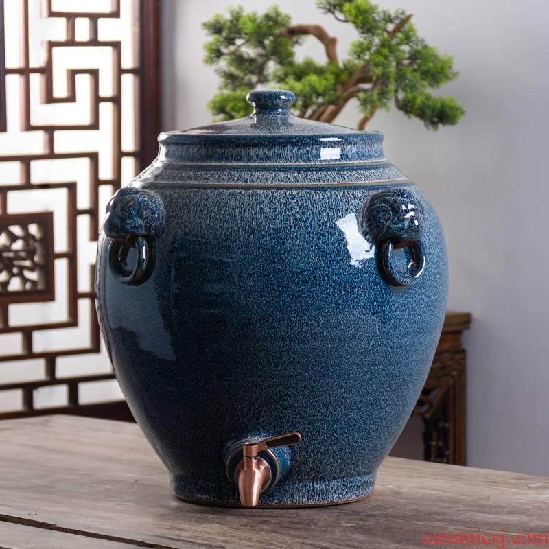 Jingdezhen ceramic jar 30 jins 50 kg 100 jins domestic sealed mercifully jars it archaize lion cylinder