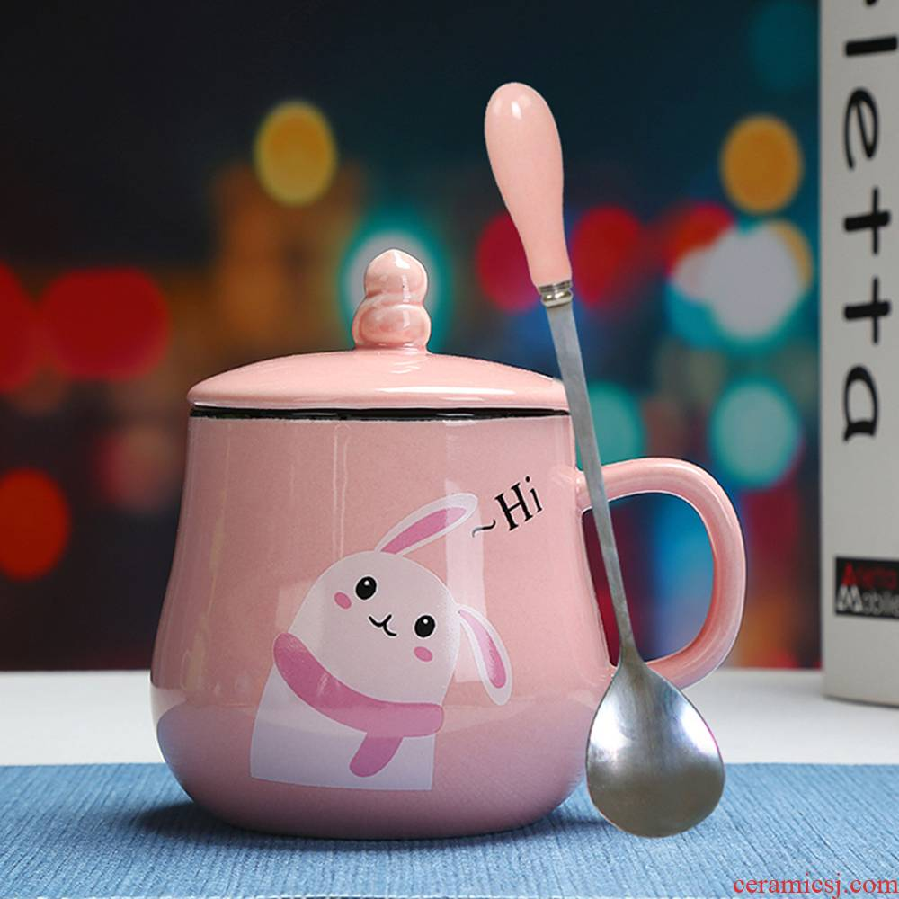 Han edition express cartoon animal keller ceramic cup ultimately responds cup picking spoon, milk cup a cup of coffee cup with cover
