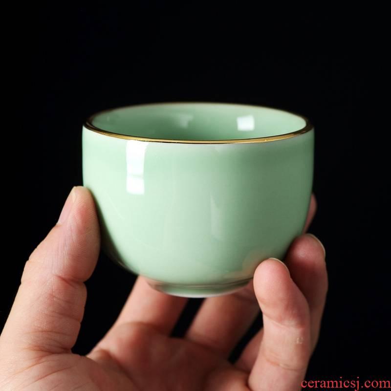 Qiao mu jingdezhen celadon kung fu tea set suit household contracted celadon tea GaiWanCha wash to ceramic tea cup