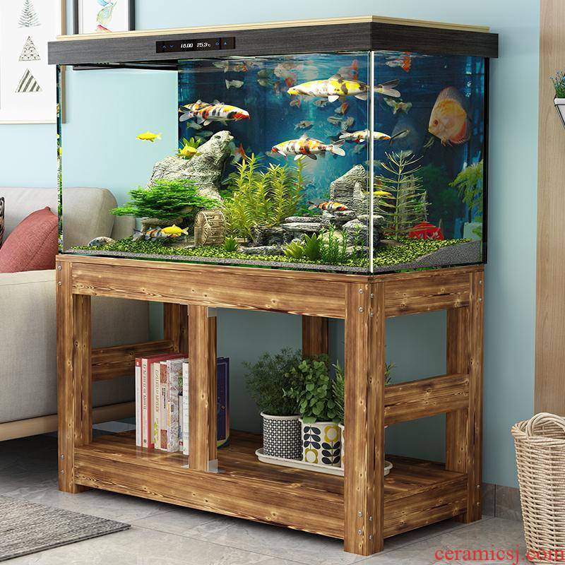 Solid wood, pine grass fish tank bottom ark, chassis base cylinder tank customized aquatic animals case mail shelf