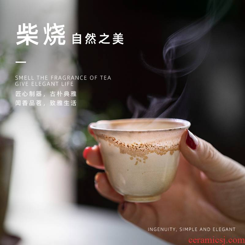 Jingdezhen pure manual firewood master cup ceramic kung fu tea set sample tea cup single CPU