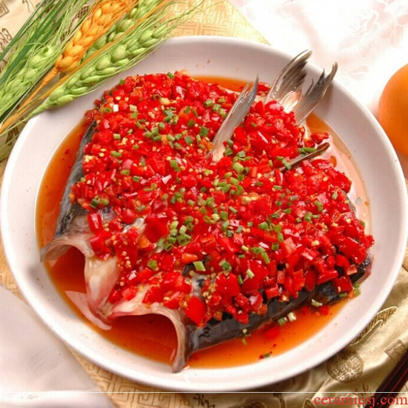 Chop bell pepper fish head dish 10 inches deep plate household hotel plate number 12 is steamed fish dish of ceramic plate circle