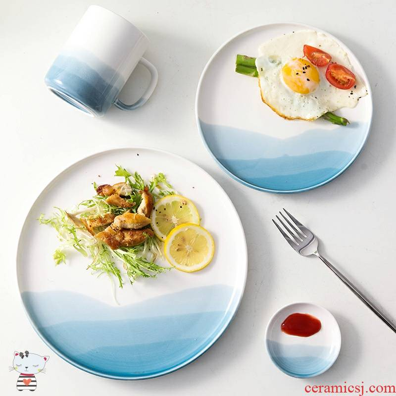 As disc west pot plate ins wind Nordic ceramic tableware suit breakfast tray was cattle Japanese household deep plate
