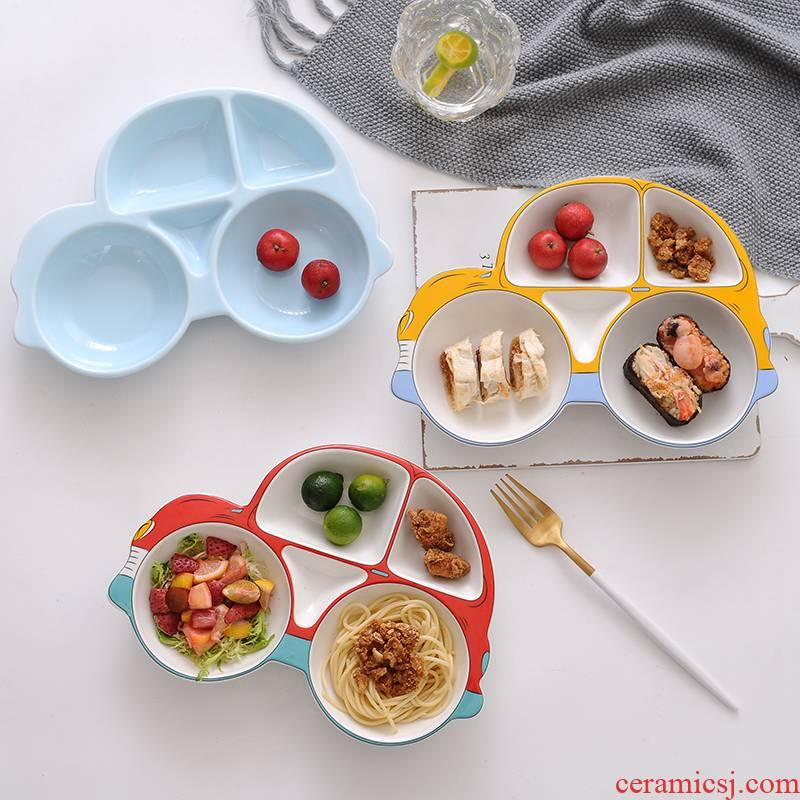 Large plate children tableware frame plate ceramic creative FanPan express cartoon car breakfast dish bowl