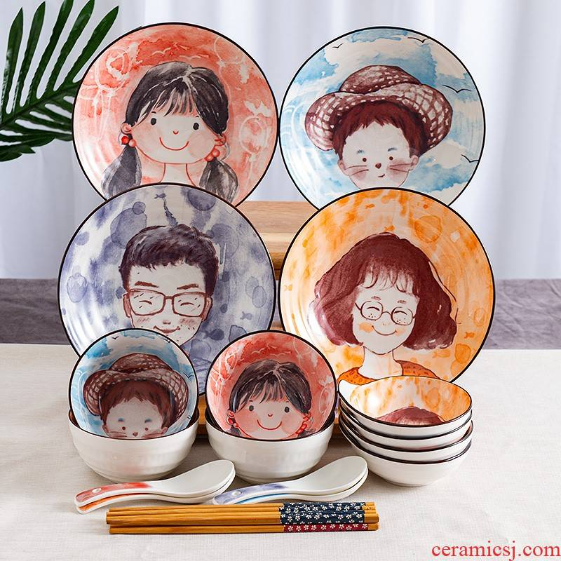 The Parent - child to use chopsticks sets of three Parent - child family dinning home lovely ceramic tableware tableware suit family