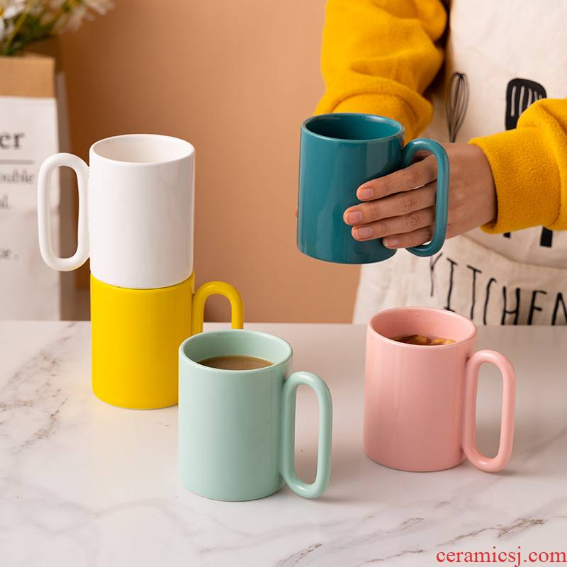 Creative Nordic ins contracted wind ceramic high - capacity office coffee cup men and women home picking mugs