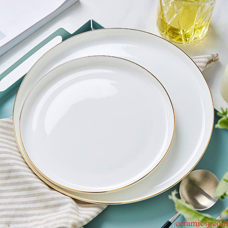 Jingdezhen European - style originality ipads China up phnom penh round steak home plate plate beefsteak platter with flat plate