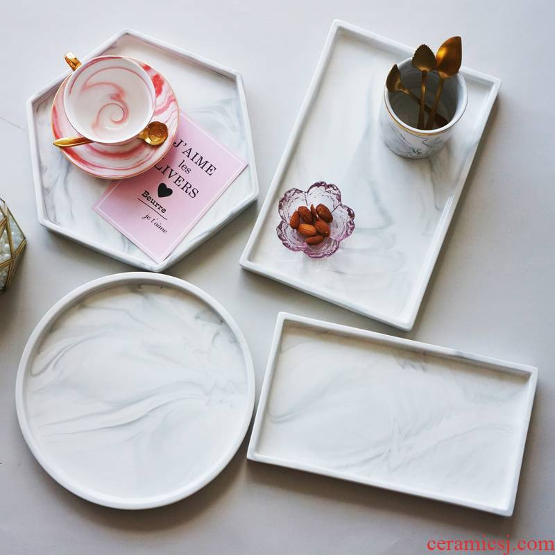 Package mail Nordic INS imitation marble ceramic tray decoration of disc jewelry plate all the western - style food dish between example