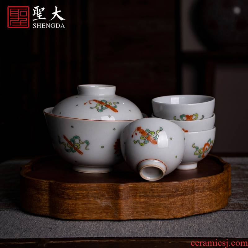 Holy big pure manual hand - made ceramic masters cup tea ancient color sweet grain tureen sample tea cup set of kung fu tea cups