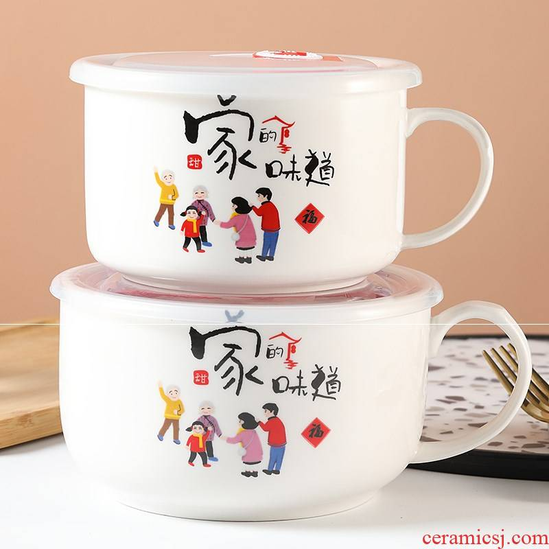 Rainbow such as bowl bowl mercifully handle ceramic noodles soup rice bowl with cover with soup bowl bento box of microwave oven ceramic instant noodles