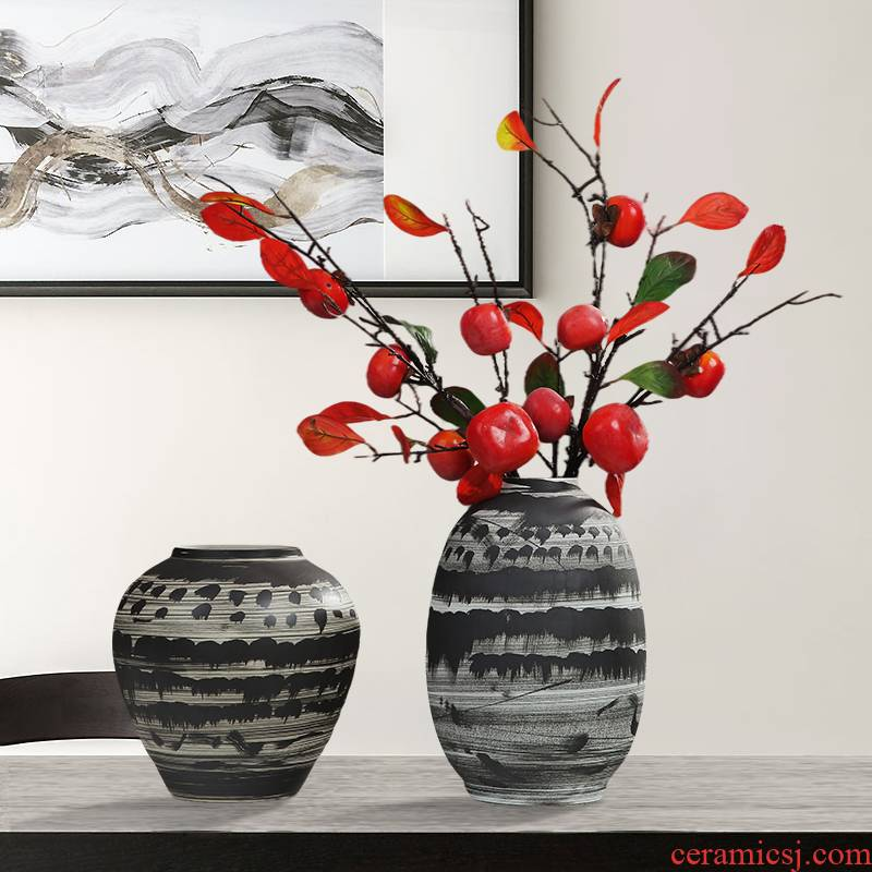 Jingdezhen vase dry flower arranging new Chinese ink painting ceramics table TV ark, place of the sitting room porch decoration