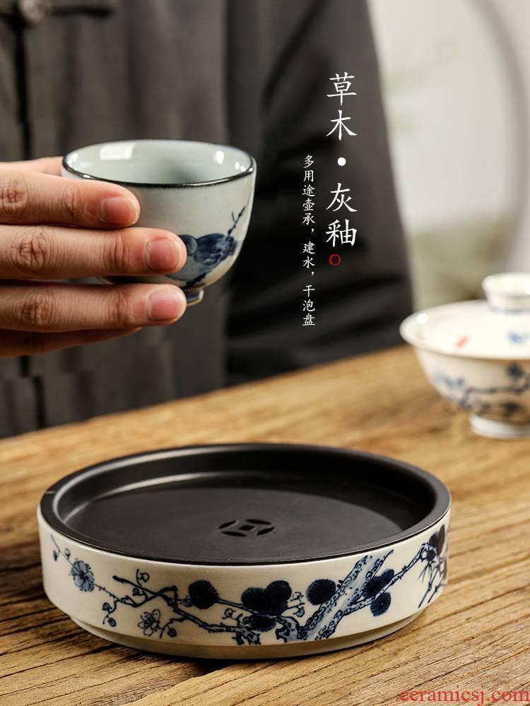 Jingdezhen pure manual plant ash glaze POTS on dry ground blue and white name plum mercifully machine hand - made ceramic water kunfu tea