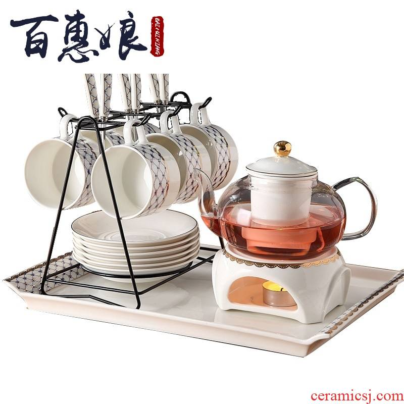 (niang ceramic electric boiling glass teapot set fruit cup English afternoon flowers and the plants tea set household idea